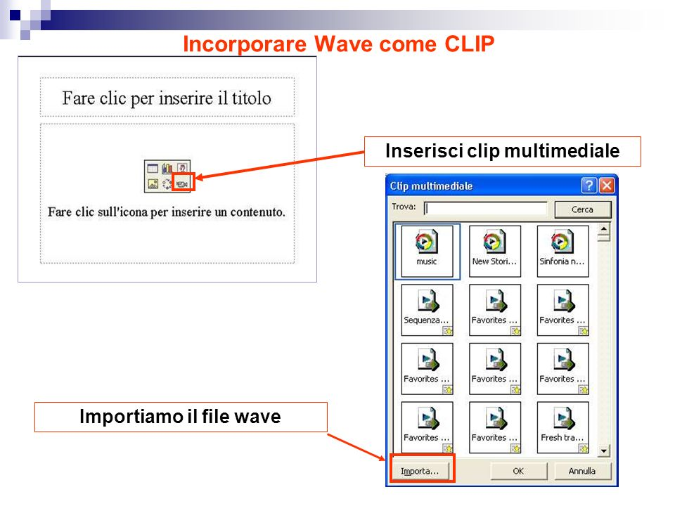 Incorporare Wave come CLIP Inserisci clip multimedialeImportiamo il file wave