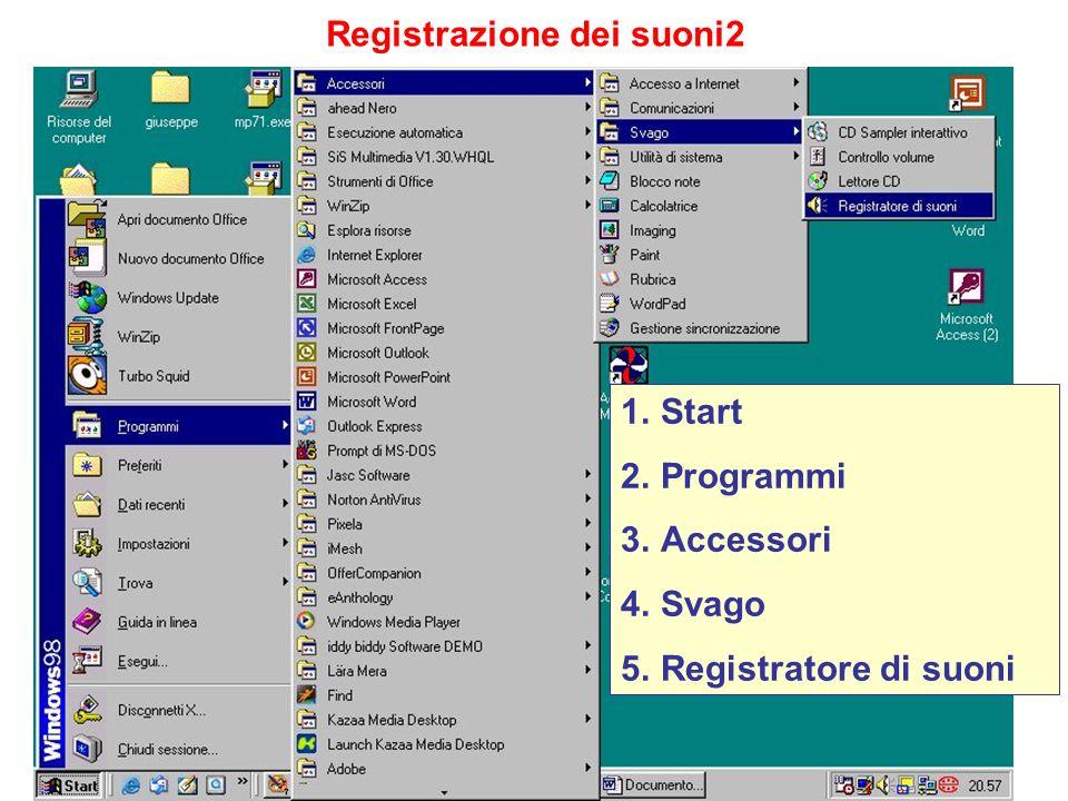 Registrazione dei suoni2 1.Start 2.Programmi 3.Accessori 4.Svago 5.Registratore di suoni