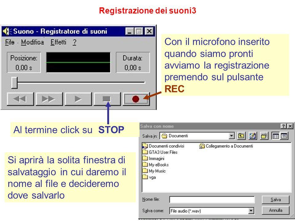 Registrazione dei suoni3 Con il microfono inserito quando siamo pronti avviamo la registrazione premendo sul pulsante REC Al termine click su STOP Si
