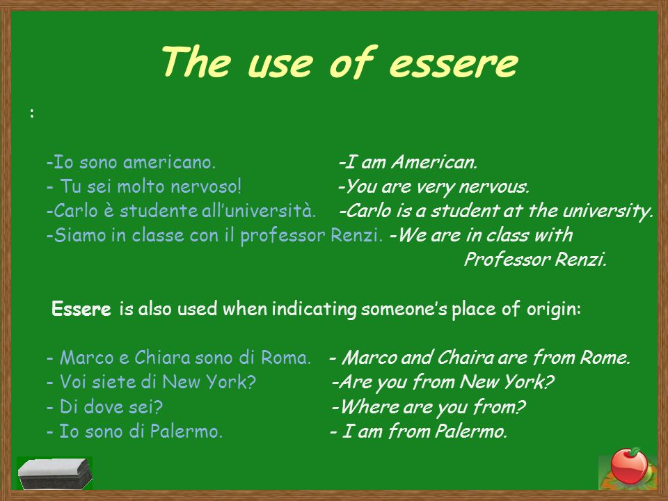 The use of essere : -Io sono americano. -I am American. - Tu sei molto nervoso! -You are very nervous. -Carlo è studente alluniversità. -Carlo is a st