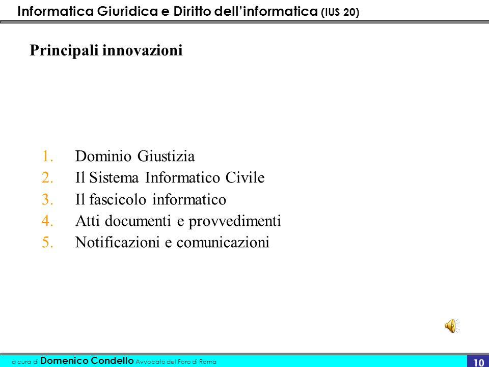 Informatica Giuridica e Diritto dellinformatica (IUS 20) a cura di Domenico Condello Avvocato del Foro di Roma 10 Principali innovazioni 1.Dominio Giu