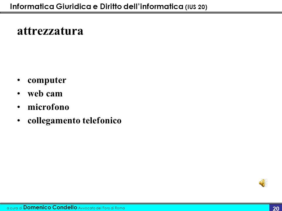 Informatica Giuridica e Diritto dellinformatica (IUS 20) a cura di Domenico Condello Avvocato del Foro di Roma 20 attrezzatura computer web cam microf