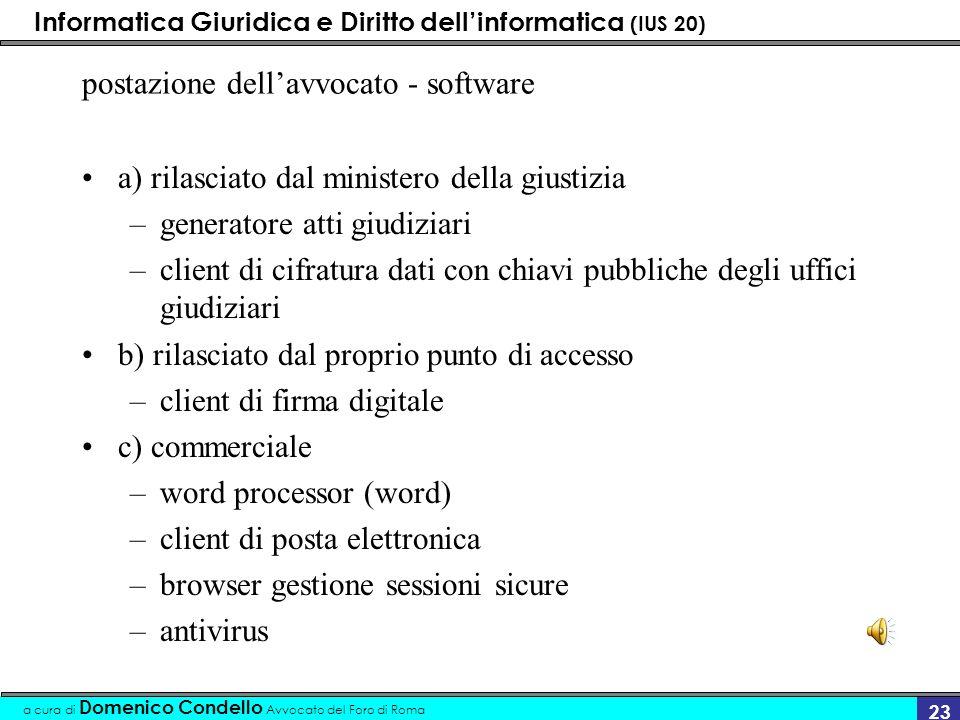 Informatica Giuridica e Diritto dellinformatica (IUS 20) a cura di Domenico Condello Avvocato del Foro di Roma 23 postazione dellavvocato - software a