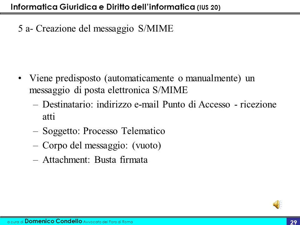 Informatica Giuridica e Diritto dellinformatica (IUS 20) a cura di Domenico Condello Avvocato del Foro di Roma 29 5 a- Creazione del messaggio S/MIME