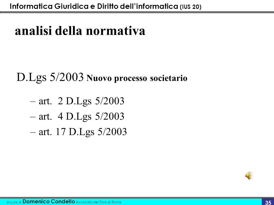 Informatica Giuridica e Diritto dellinformatica (IUS 20) a cura di Domenico Condello Avvocato del Foro di Roma 35 analisi della normativa D.Lgs 5/2003