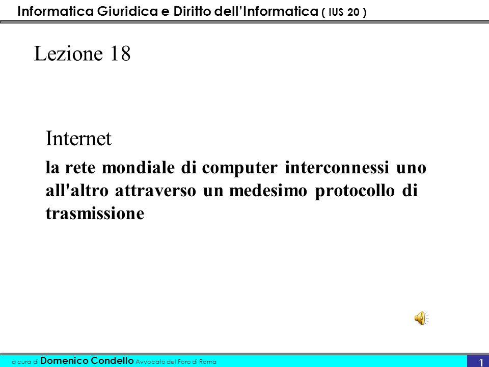 Informatica Giuridica e Diritto dellInformatica ( IUS 20 ) a cura di Domenico Condello Avvocato del Foro di Roma 11 Struttura dellIP gruppo dei numeri separati da punti –es.