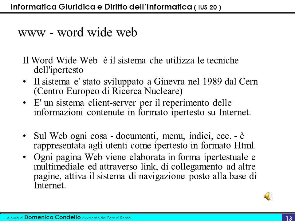 Informatica Giuridica e Diritto dellInformatica ( IUS 20 ) a cura di Domenico Condello Avvocato del Foro di Roma 12 ICANN L'ICANN (Internet Corporatio