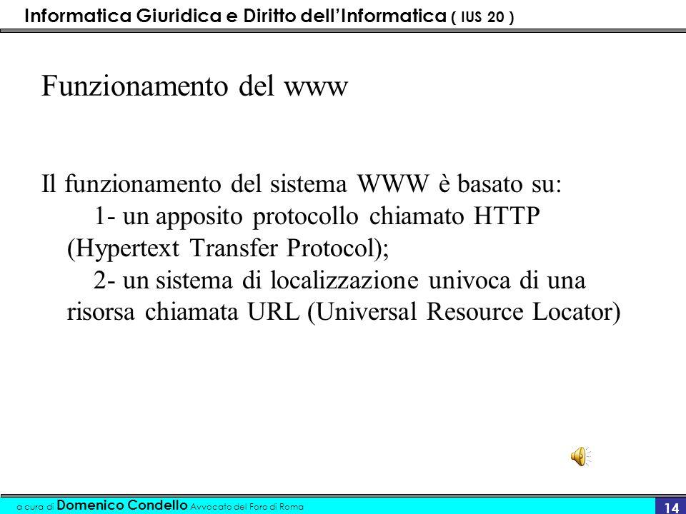 Informatica Giuridica e Diritto dellInformatica ( IUS 20 ) a cura di Domenico Condello Avvocato del Foro di Roma 13 www - word wide web Il Word Wide W