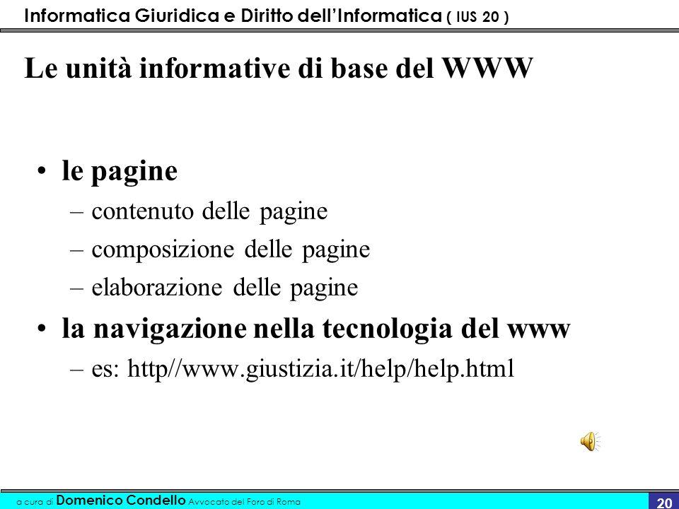 Informatica Giuridica e Diritto dellInformatica ( IUS 20 ) a cura di Domenico Condello Avvocato del Foro di Roma 19 Le funzioni del browser Visualizza
