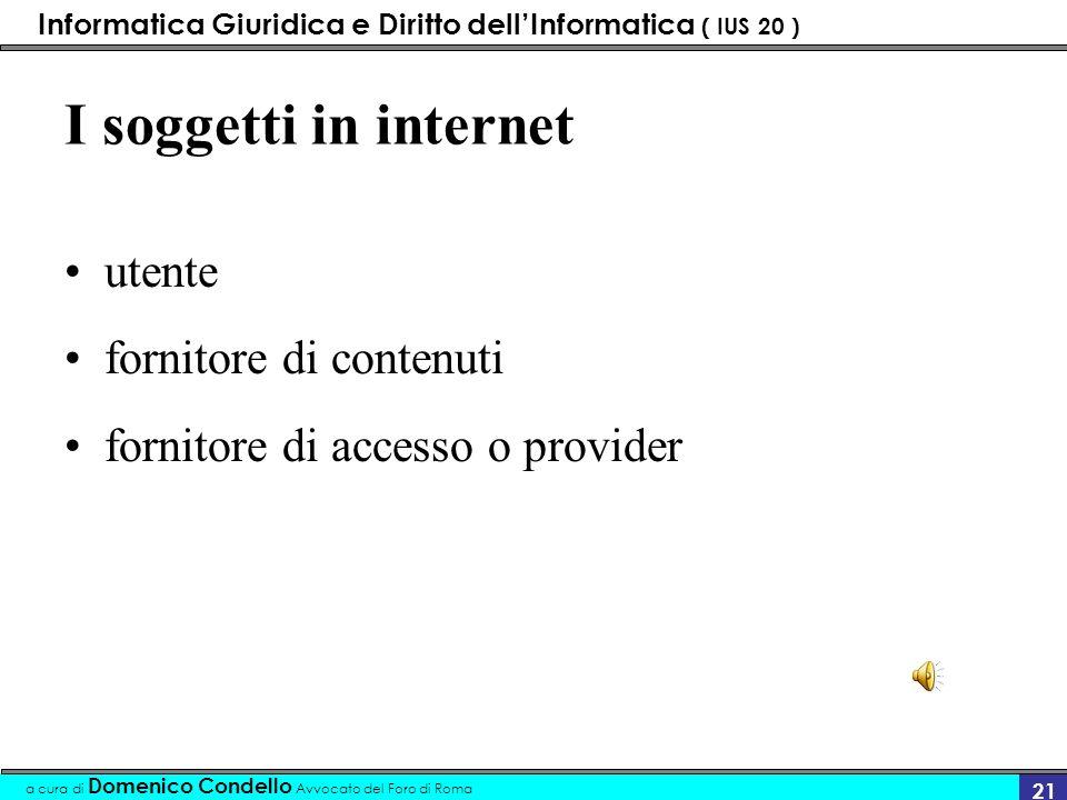 Informatica Giuridica e Diritto dellInformatica ( IUS 20 ) a cura di Domenico Condello Avvocato del Foro di Roma 20 Le unità informative di base del W