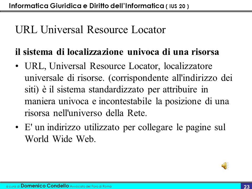 Informatica Giuridica e Diritto dellInformatica ( IUS 20 ) a cura di Domenico Condello Avvocato del Foro di Roma 22 Pagine web Home page Pagine web
