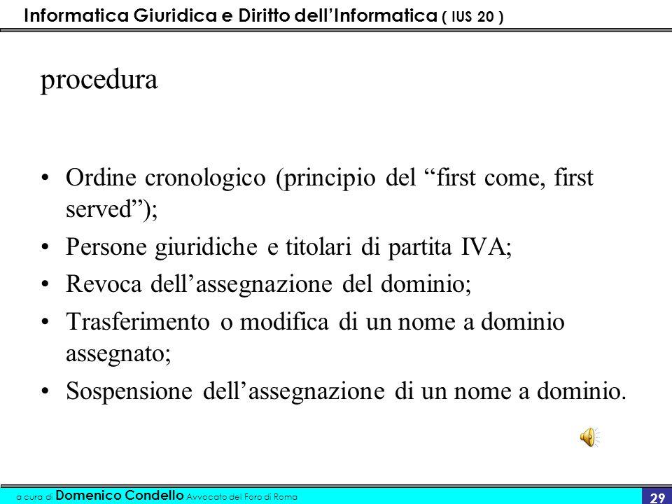 Informatica Giuridica e Diritto dellInformatica ( IUS 20 ) a cura di Domenico Condello Avvocato del Foro di Roma 28 registrazione Gestita: IERI: dalla IANA (Internet Assigned Number Authority).