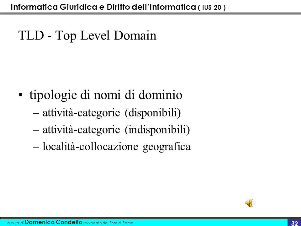 Informatica Giuridica e Diritto dellInformatica ( IUS 20 ) a cura di Domenico Condello Avvocato del Foro di Roma 31 TLD - Top Level Domain indica larea in cui il nome di dominio si inserisce può essere di due o tre lettere