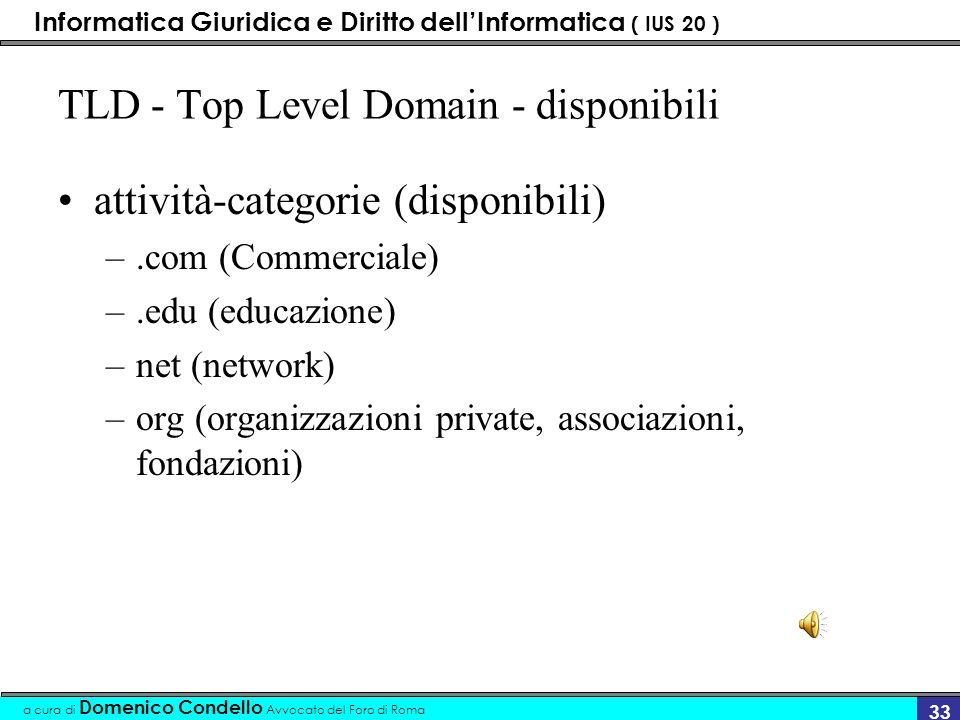 Informatica Giuridica e Diritto dellInformatica ( IUS 20 ) a cura di Domenico Condello Avvocato del Foro di Roma 32 TLD - Top Level Domain tipologie d