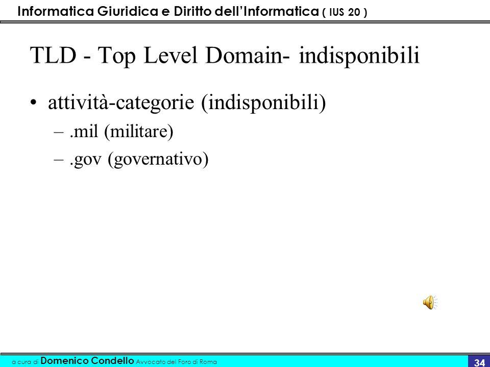 Informatica Giuridica e Diritto dellInformatica ( IUS 20 ) a cura di Domenico Condello Avvocato del Foro di Roma 33 TLD - Top Level Domain - disponibi