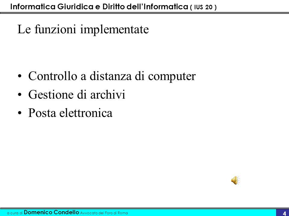 Informatica Giuridica e Diritto dellInformatica ( IUS 20 ) a cura di Domenico Condello Avvocato del Foro di Roma 34 TLD - Top Level Domain- indisponibili attività-categorie (indisponibili) –.mil (militare) –.gov (governativo)