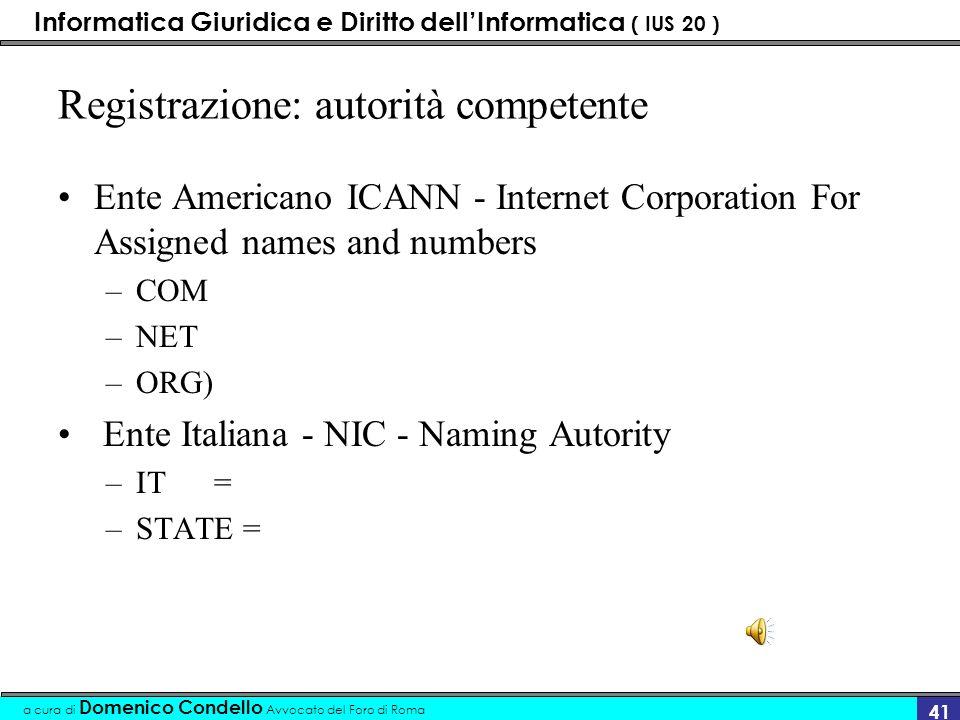 Informatica Giuridica e Diritto dellInformatica ( IUS 20 ) a cura di Domenico Condello Avvocato del Foro di Roma 40 domain name grabbing La registrazione del nome di dominio di un sito utilizzando un nome celebre.