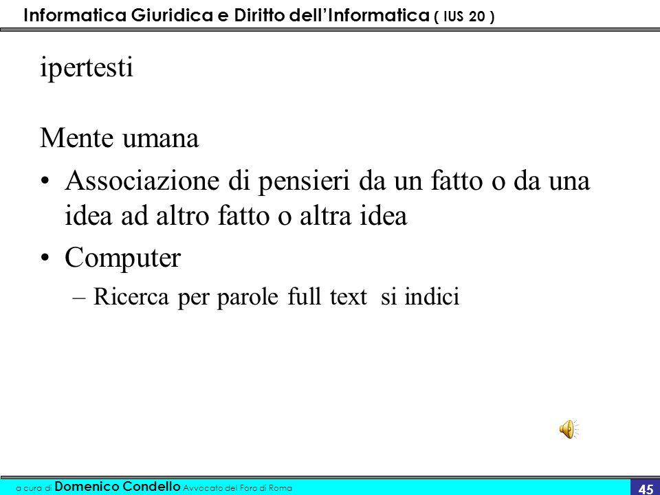 Informatica Giuridica e Diritto dellInformatica ( IUS 20 ) a cura di Domenico Condello Avvocato del Foro di Roma 44 Hyper link - Ipertesti Vanner Bush