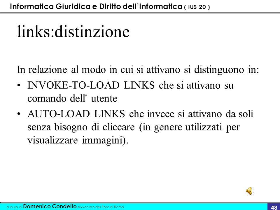 Informatica Giuridica e Diritto dellInformatica ( IUS 20 ) a cura di Domenico Condello Avvocato del Foro di Roma 47 esempio Vista la legge xx del Cons