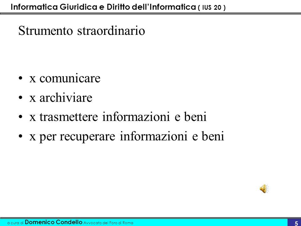 Informatica Giuridica e Diritto dellInformatica ( IUS 20 ) a cura di Domenico Condello Avvocato del Foro di Roma 4 Le funzioni implementate Controllo