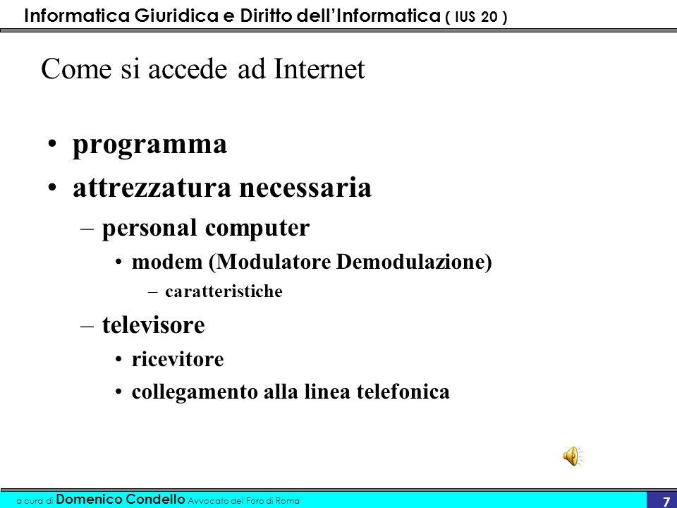 Informatica Giuridica e Diritto dellInformatica ( IUS 20 ) a cura di Domenico Condello Avvocato del Foro di Roma 27 definizione Domain Name (DN) è lespressione tecnica per indicare quello che comunemente chiamiamo indirizzo internet.