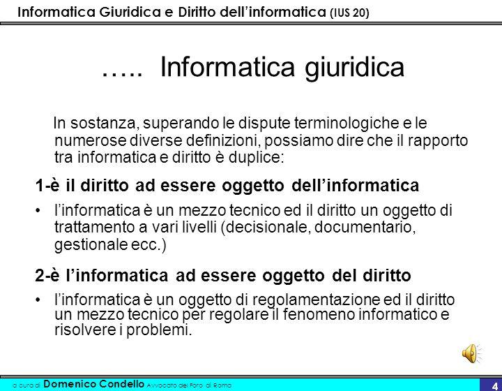 Informatica Giuridica e Diritto dellinformatica (IUS 20) a cura di Domenico Condello Avvocato del Foro di Roma 14 ------- profilo tecnologico E possibile così individuare –un momento concentrato (mainframe terminali stupidi) –un momento individuale (personal computer) –un momento integrato (reti locali - globali - telematica)