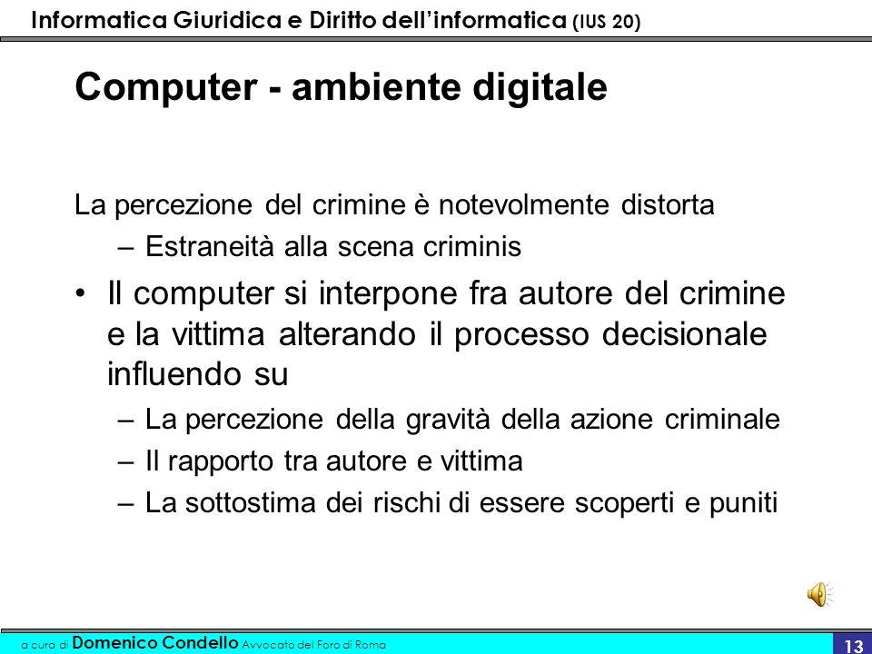 Informatica Giuridica e Diritto dellinformatica (IUS 20) a cura di Domenico Condello Avvocato del Foro di Roma 13 Computer - ambiente digitale La perc