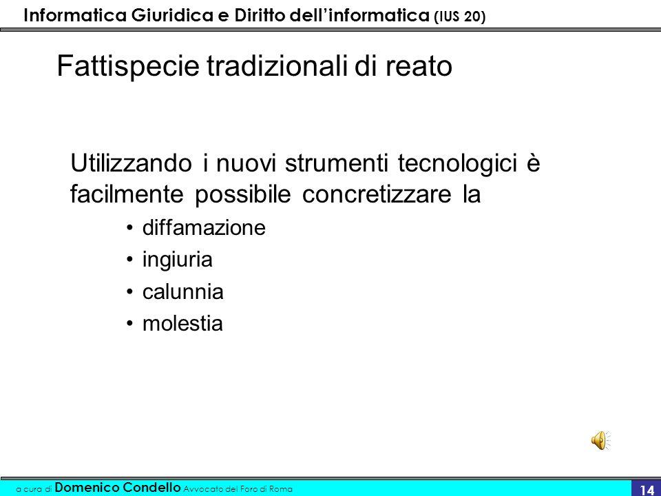 Informatica Giuridica e Diritto dellinformatica (IUS 20) a cura di Domenico Condello Avvocato del Foro di Roma 14 Fattispecie tradizionali di reato Ut