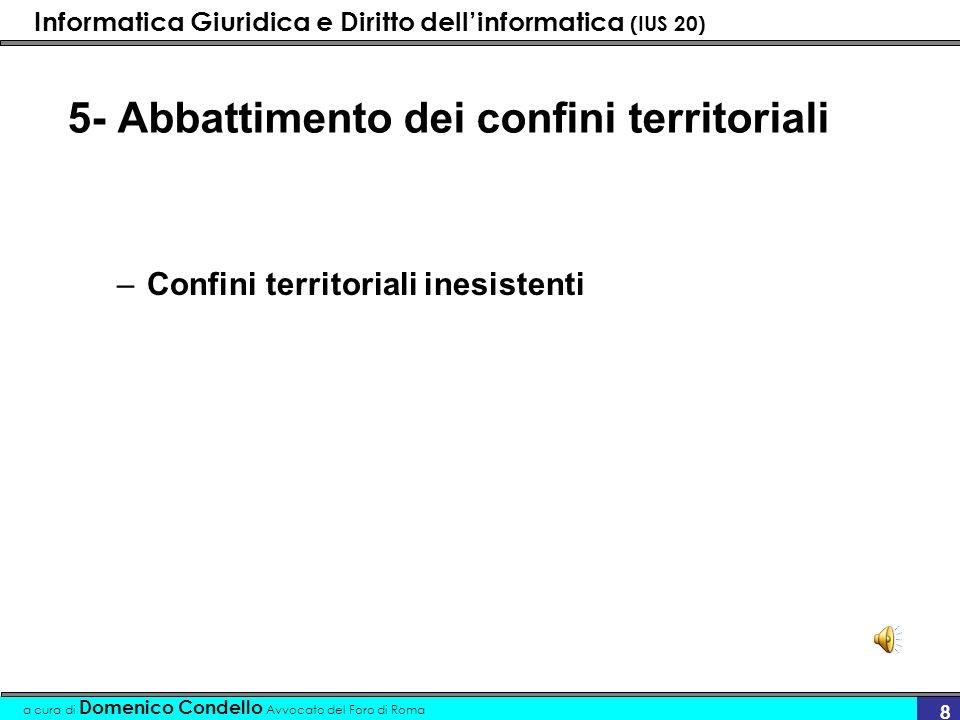 Informatica Giuridica e Diritto dellinformatica (IUS 20) a cura di Domenico Condello Avvocato del Foro di Roma 8 5- Abbattimento dei confini territori