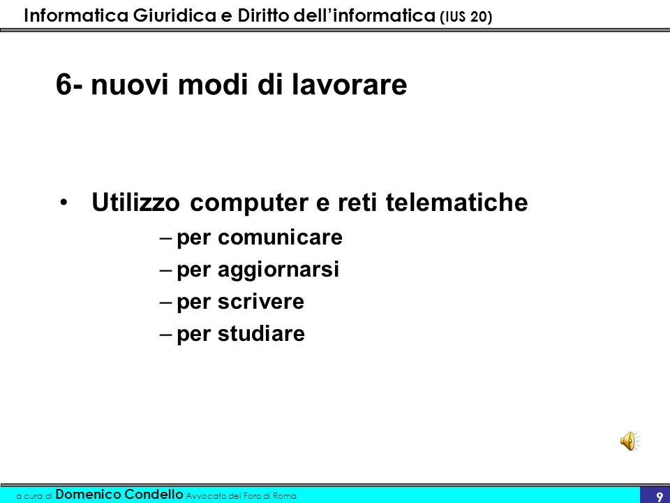 Informatica Giuridica e Diritto dellinformatica (IUS 20) a cura di Domenico Condello Avvocato del Foro di Roma 9 6- nuovi modi di lavorare Utilizzo co