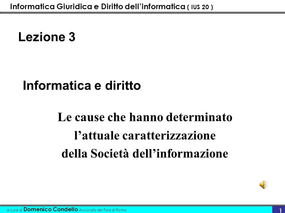 Informatica Giuridica e Diritto dellinformatica ( IUS 20 ) a cura di Domenico Condello Avvocato del Foro di Roma 32 Approfondimenti giuridici sui due fenomeni Nuove regole di comportamento .