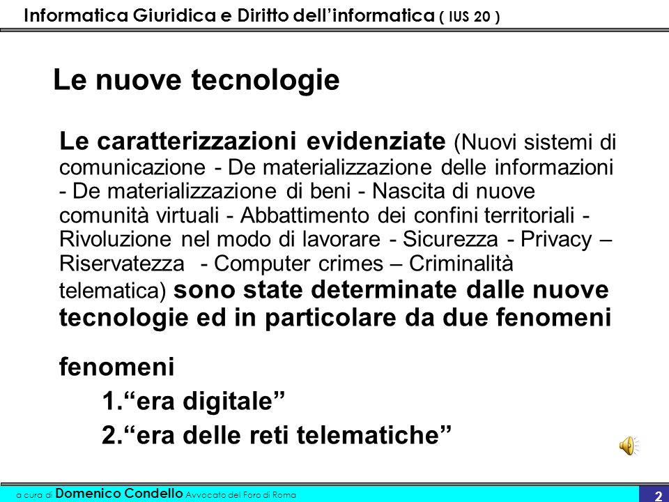Informatica Giuridica e Diritto dellinformatica ( IUS 20 ) a cura di Domenico Condello Avvocato del Foro di Roma 33 ….era digitale Etero regolamentazione 1.Lo spazio virtuale deve essere regolato da atti esterni (Statali, Internazionali, Sovra nazionali)