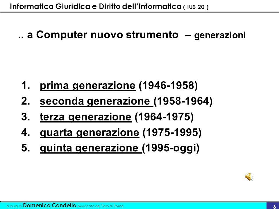 Informatica Giuridica e Diritto dellinformatica ( IUS 20 ) a cura di Domenico Condello Avvocato del Foro di Roma 17 Software Categorie I sistemi operativi I driver I programmi applicativi