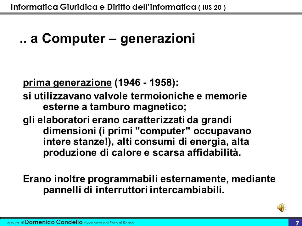 Informatica Giuridica e Diritto dellinformatica ( IUS 20 ) a cura di Domenico Condello Avvocato del Foro di Roma 18 Software – Licenza dUso Normativa di riferimento Diritto di Autore Legge 633/41 (l.d.a.) modificata, per quanto riguarda il software, da D.
