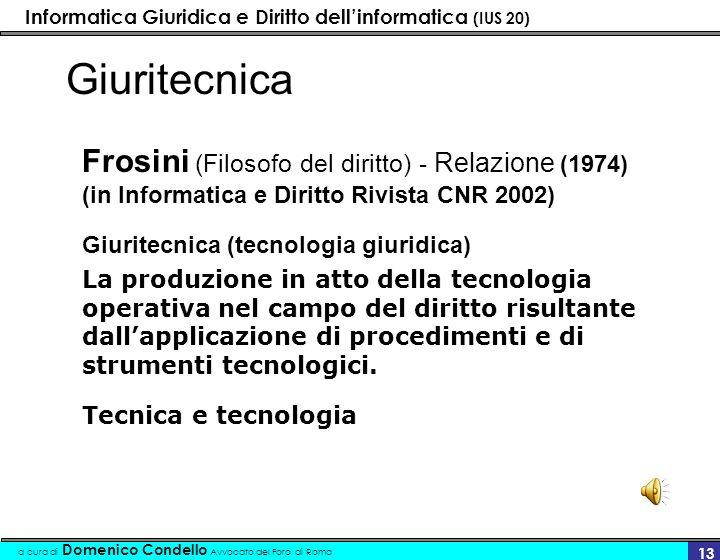 Informatica Giuridica e Diritto dellinformatica (IUS 20) a cura di Domenico Condello Avvocato del Foro di Roma 13 Giuritecnica Frosini (Filosofo del d