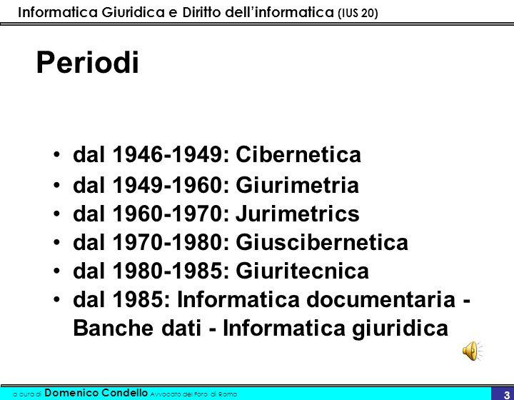 Informatica Giuridica e Diritto dellinformatica (IUS 20) a cura di Domenico Condello Avvocato del Foro di Roma 14 Informatica giuridica La Direttiva Cee n.5/80 parla di Informatica giuridica
