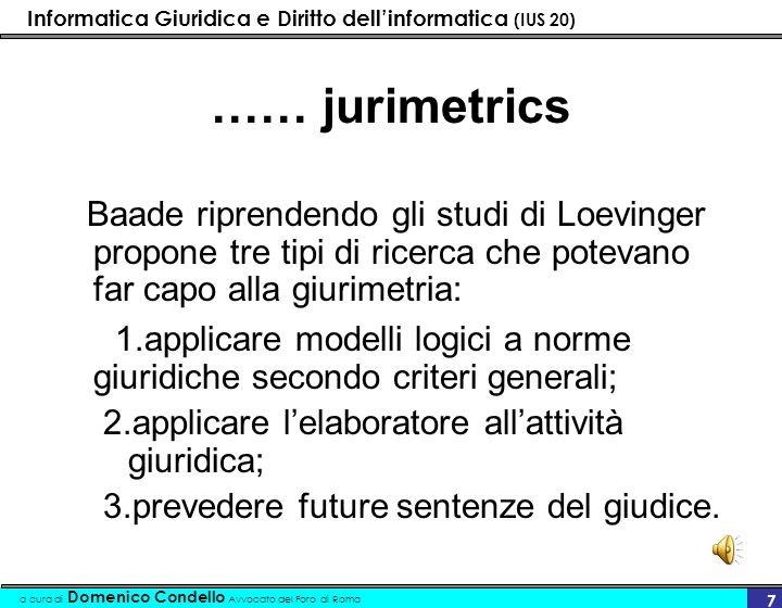 Informatica Giuridica e Diritto dellinformatica (IUS 20) a cura di Domenico Condello Avvocato del Foro di Roma 7 …… jurimetrics Baade riprendendo gli