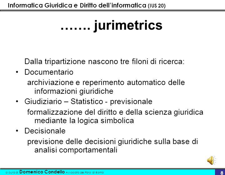 Informatica Giuridica e Diritto dellinformatica (IUS 20) a cura di Domenico Condello Avvocato del Foro di Roma 8 ……. jurimetrics Dalla tripartizione n