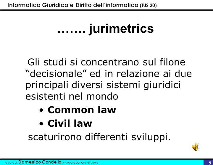 Informatica Giuridica e Diritto dellinformatica (IUS 20) a cura di Domenico Condello Avvocato del Foro di Roma 9 ……. jurimetrics Gli studi si concentr