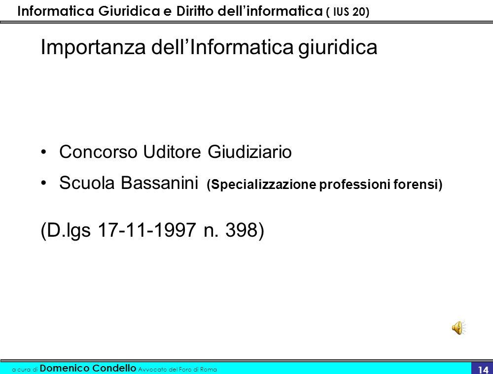 Informatica Giuridica e Diritto dellinformatica ( IUS 20) a cura di Domenico Condello Avvocato del Foro di Roma 14 Importanza dellInformatica giuridica Concorso Uditore Giudiziario Scuola Bassanini (Specializzazione professioni forensi) (D.lgs 17-11-1997 n.