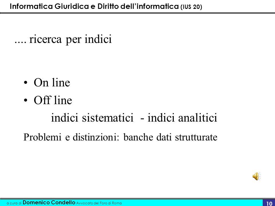 Informatica Giuridica e Diritto dellinformatica (IUS 20) a cura di Domenico Condello Avvocato del Foro di Roma 10.... ricerca per indici On line Off l