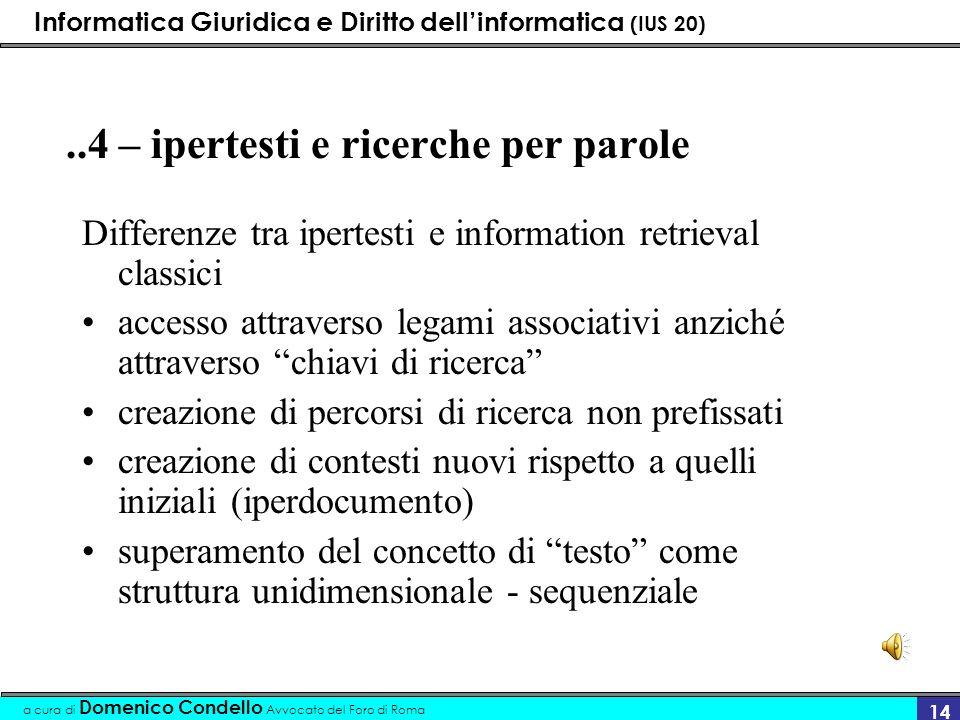 Informatica Giuridica e Diritto dellinformatica (IUS 20) a cura di Domenico Condello Avvocato del Foro di Roma 14..4 – ipertesti e ricerche per parole