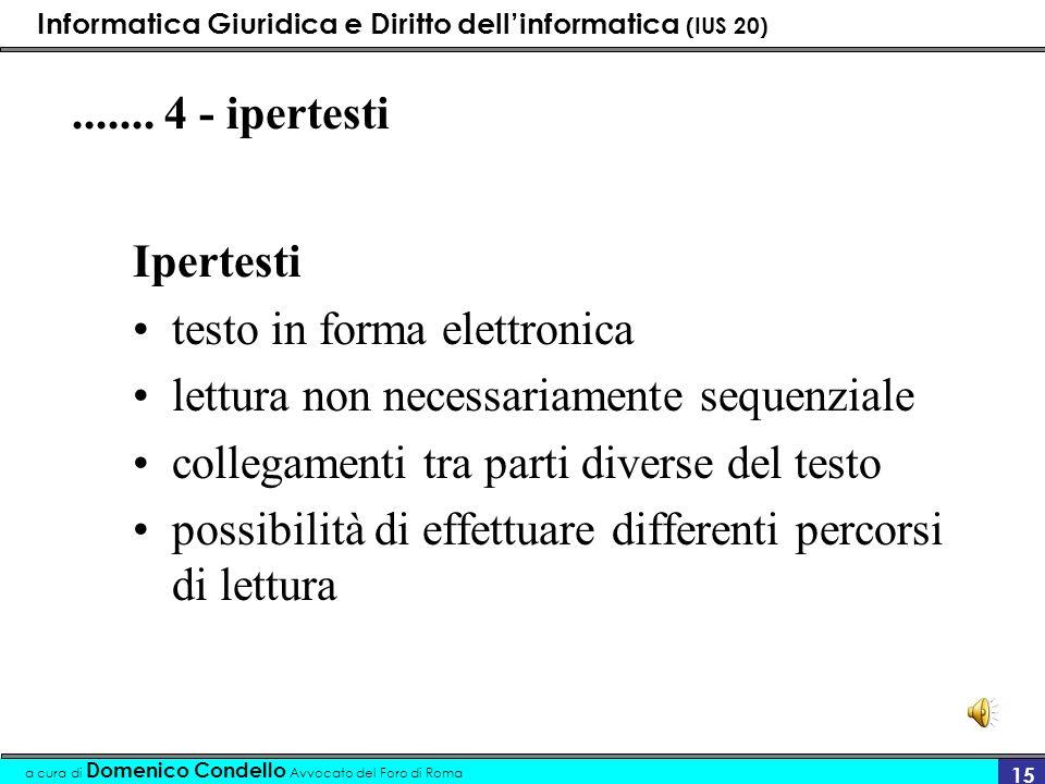 Informatica Giuridica e Diritto dellinformatica (IUS 20) a cura di Domenico Condello Avvocato del Foro di Roma 15....... 4 - ipertesti Ipertesti testo