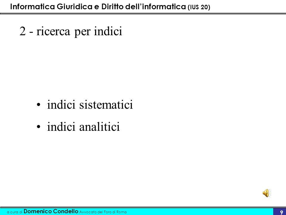 Informatica Giuridica e Diritto dellinformatica (IUS 20) a cura di Domenico Condello Avvocato del Foro di Roma 10....