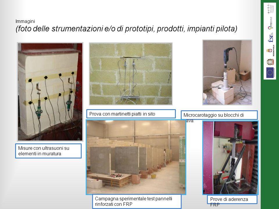 Immagini (foto delle strumentazioni e/o di prototipi, prodotti, impianti pilota) Misure con ultrasuoni su elementi in muratura Prova con martinetti piatti in sito Microcarotaggio su blocchi di cava Campagna sperimentale test pannelli rinforzati con FRP Prove di aderenza FRP