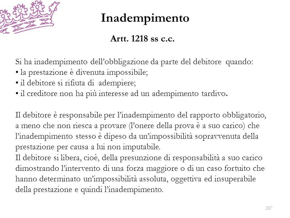 Inadempimento Artt. 1218 ss c.c. Si ha inadempimento dellobbligazione da parte del debitore quando: la prestazione è divenuta impossibile; il debitore