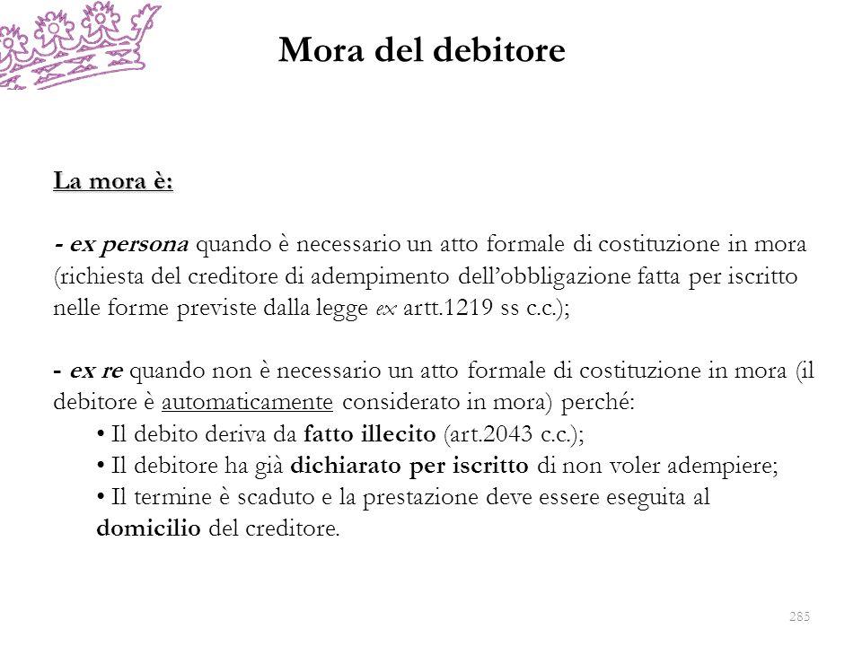 Mora del debitore La mora è: - ex persona quando è necessario un atto formale di costituzione in mora (richiesta del creditore di adempimento dellobbl