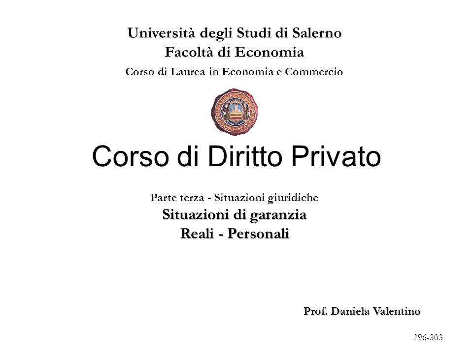 I - Situazioni di garanzia patrimoniali (artt.2740 ss., 2910 ss.) Privilegi (artt.