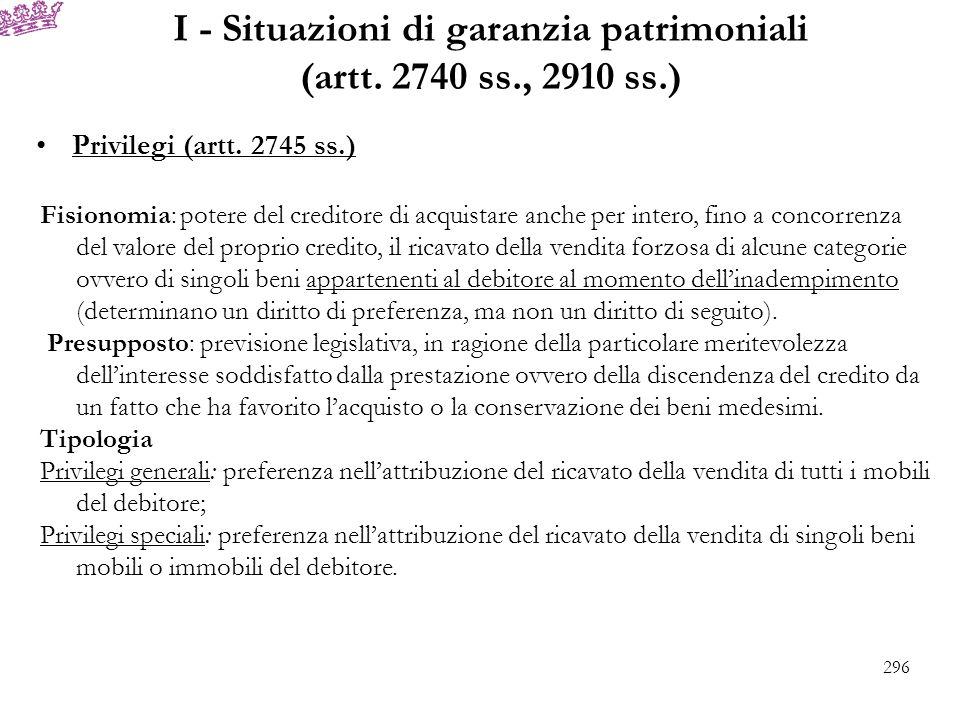 I - Situazioni di garanzia patrimoniali (artt. 2740 ss., 2910 ss.) Privilegi (artt. 2745 ss.) Fisionomia: potere del creditore di acquistare anche per