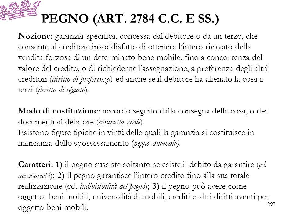 PEGNO (ART. 2784 C.C. E SS.) Nozione: garanzia specifica, concessa dal debitore o da un terzo, che consente al creditore insoddisfatto di ottenere lin
